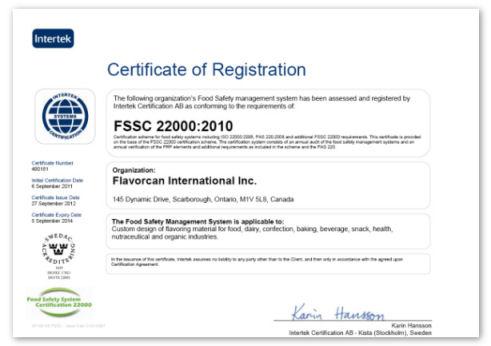 Flavorcan ISO Certificate FSSC 22000